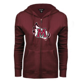 ENZA Ladies Maroon Fleece Full Zip Hoodie-M Wing Icon