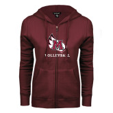 ENZA Ladies Maroon Fleece Full Zip Hoodie-Volleyball