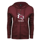 ENZA Ladies Maroon Fleece Full Zip Hoodie-Tennis