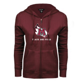 ENZA Ladies Maroon Fleece Full Zip Hoodie-Track & Field
