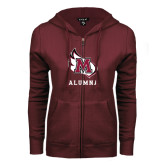 ENZA Ladies Maroon Fleece Full Zip Hoodie-Alumna