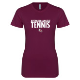 Next Level Ladies SoftStyle Junior Fitted Maroon Tee-Tennis Design