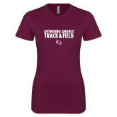 Next Level Ladies SoftStyle Junior Fitted Maroon Tee-Track & Field Design
