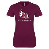 Next Level Ladies SoftStyle Junior Fitted Maroon Tee-Field Hockey