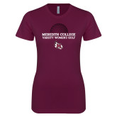 Next Level Ladies SoftStyle Junior Fitted Maroon Tee-Varsity Womens Golf