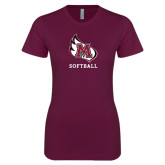 Next Level Ladies SoftStyle Junior Fitted Maroon Tee-Softball