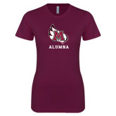 Next Level Ladies SoftStyle Junior Fitted Maroon Tee-Alumna