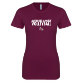 Next Level Ladies SoftStyle Junior Fitted Maroon Tee-Volleyball Design