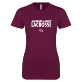 Next Level Ladies SoftStyle Junior Fitted Maroon Tee-Lacrosse Design