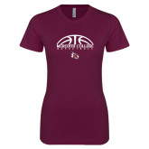 Next Level Ladies SoftStyle Junior Fitted Maroon Tee-Basketball Design