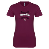 Next Level Ladies SoftStyle Junior Fitted Maroon Tee-Softball Design