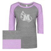 ENZA Ladies Athletic Heather/Violet Vintage Baseball Tee-Primary Mark White Soft Glitter