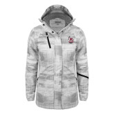 Ladies White Brushstroke Print Insulated Jacket-Primary Mark Stacked