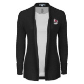 Ladies Black Open Front Cardigan-Primary Mark Stacked