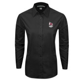 Ladies Black Tonal Pattern Long Sleeve Shirt-Primary Mark Stacked