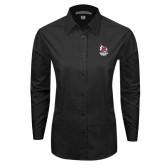 Ladies Black Tonal Pattern Long Sleeve Shirt-Primary Mark Stacked