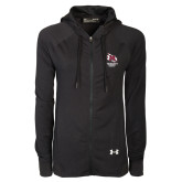 Ladies Under Armour Black Varsity Full Zip Hoodie-Primary Mark Stacked
