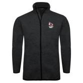 Black Heather Fleece Jacket-Primary Mark Stacked