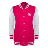 Ladies Pink Raspberry/White Fleece Letterman Jacket-Primary Mark Tone