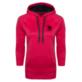 Ladies Pink Raspberry Tech Fleece Hoodie-Primary Mark Tone