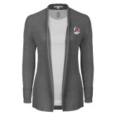 Ladies Heather Grey Open Front Cardigan-Primary Mark Stacked