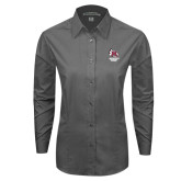 Ladies Grey Tonal Pattern Long Sleeve Shirt-Primary Mark Stacked