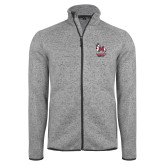 Grey Heather Fleece Jacket-Primary Mark Stacked