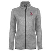 Grey Heather Ladies Fleece Jacket-Primary Mark Stacked