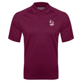 Maroon Textured Saddle Shoulder Polo-Primary Mark Stacked