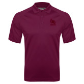 Maroon Textured Saddle Shoulder Polo-Primary Mark Tone