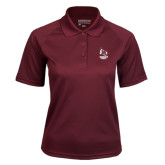 Ladies Maroon Textured Saddle Shoulder Polo-Primary Mark Stacked