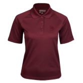 Ladies Maroon Textured Saddle Shoulder Polo-Primary Mark Tone