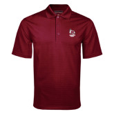 Maroon Mini Stripe Polo-Primary Mark Stacked
