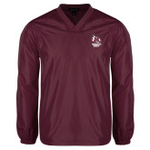V Neck Maroon Raglan Windshirt-Primary Mark Stacked