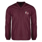 V Neck Maroon Raglan Windshirt-M Wing Icon