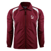 Colorblock Maroon/White Wind Jacket-Primary Mark Stacked