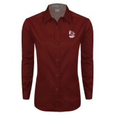 Ladies Maroon Twill Button Down Long Sleeve-Primary Mark Stacked