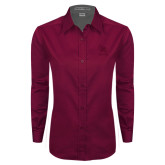 Ladies Maroon Twill Button Down Long Sleeve-Primary Mark Tone