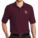 Maroon Easycare Pique Polo-Primary Mark Stacked