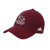 Adidas Maroon Slouch Unstructured Low Profile Hat-Primary Mark Stacked