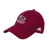 Adidas Maroon Structured Adjustable Hat-Primary Mark Stacked