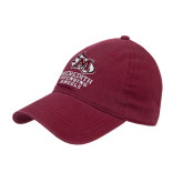 Maroon Twill Unstructured Low Profile Hat-Primary Mark Stacked