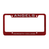 Metal Maroon License Plate Frame-Angels