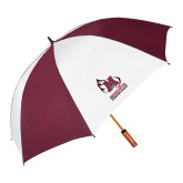 62 Inch Maroon/White Umbrella-Primary Mark