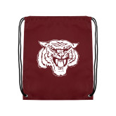 Maroon Drawstring Backpack-Mascot Logo