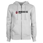 ENZA Ladies White Fleece Full Zip Hoodie-Morehouse College Logo