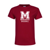 Youth Maroon T Shirt-Morehouse Baseball