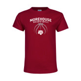 Youth Maroon T Shirt-Basketball Graphic