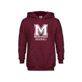 Youth Maroon Fleece Hoodie-Morehouse Baseball