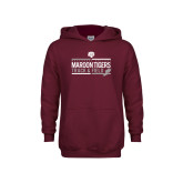 Youth Maroon Fleece Hoodie-Track and Field Graphic